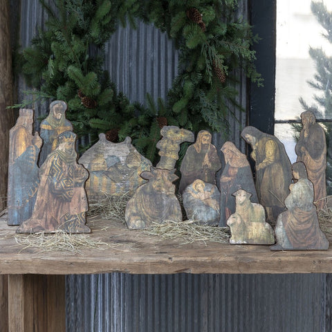 Wooden Tabletop Nativity - Set of 12
