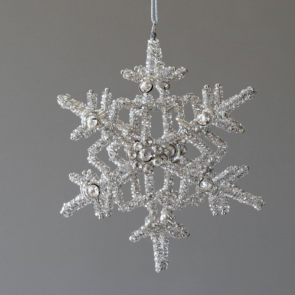 Glass Beaded & Rhinestone Snowflake Ornament