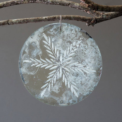 Antique Mirror Round Drop Ornament
