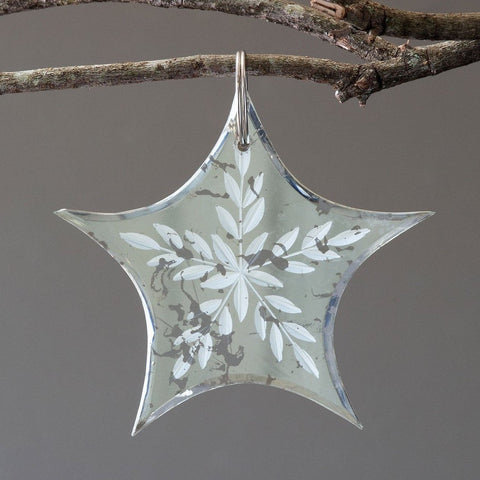 Antique Mirror Star Drop Ornament