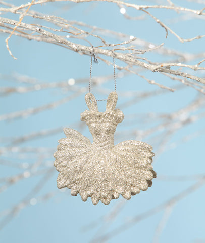 Platinum Ballerina Dress Ornament