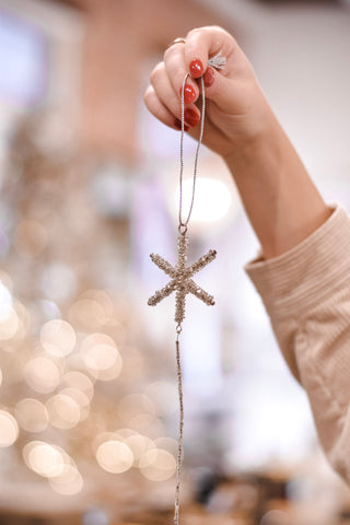 Glass Beaded Snowflake Drop Ornaments - Set of 3