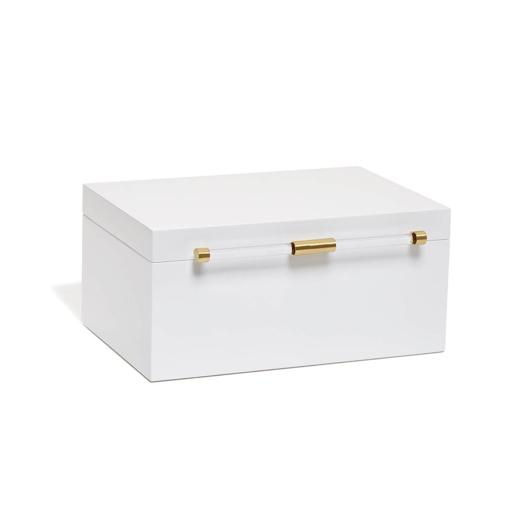 Medium Antique Brass Jewelry Box In White Lacquer