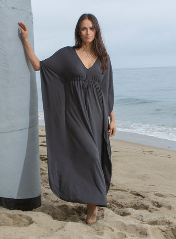 Luxe Milk Jersey Carbon Paradise Cove Caftan in Carbon