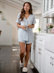Luxe Milk Jersey Piped PJ Top & Boxer Set in Blue Water