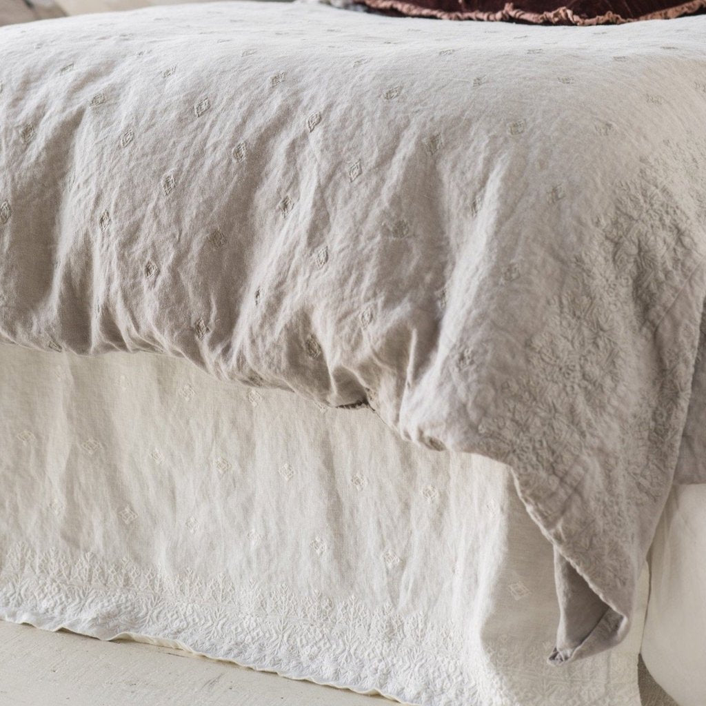 Ines Queen Bed Skirt in Winter White from Bella Notte Linens