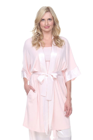 Shala Kimono Robe with Satin Belt & Trim
