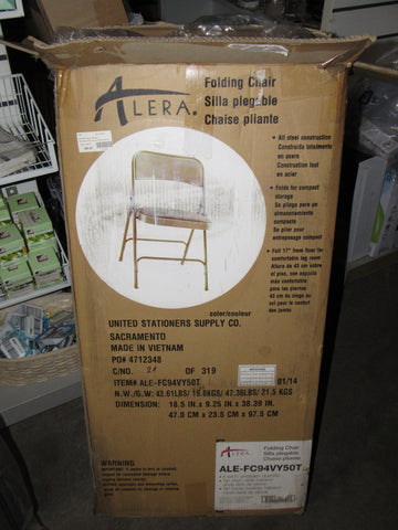 Alera Steel Folding Chair with Padded Seat, Tan, 4 pack