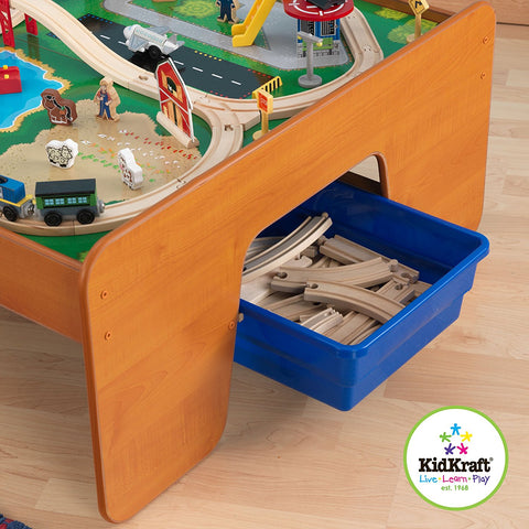 KidKraft Ride Around Town 100-Piece Train Set and Table