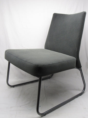 Amisco Industries District Metal Chair, Magnetite/Charcoal Cover
