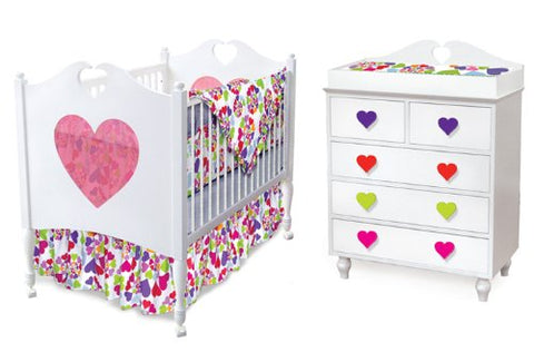 Room Magic Baby Crib Chest Drawers Nursery Room Set, Heart Throb