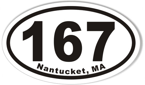 167 Nantucket, MA Oval Bumper Stickers