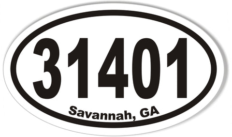 31401 Savannah, GA Oval Bumper Stickers