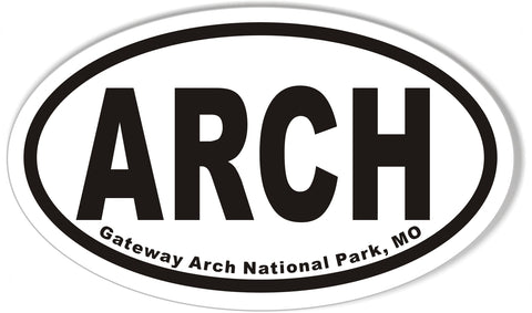 ARCH Gateway Arch National Park, MO Oval Bumper Stickers
