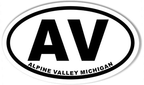 Av alpine valley michigan oval bumper stickers