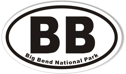 BB Big Bend National Park Oval Sticker