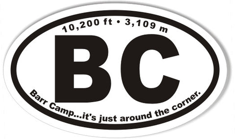 BC Barr Camp 3x5 Inch Custom Oval Bumper Stickers