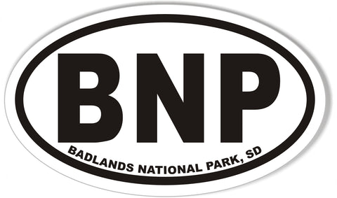 BNP BADLANDS NATIONAL PARK Oval Bumper Sticker