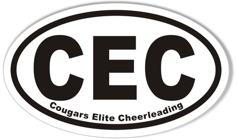 CEC Cougars Elite Cheerleading Oval Bumper Stickers