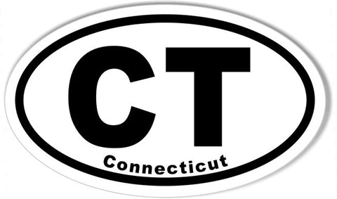CT Connecticut Oval Bumper Stickers