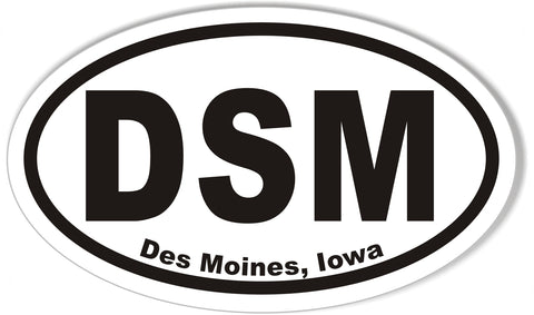DSM Des Moines, Iowa Oval Bumper Stickers