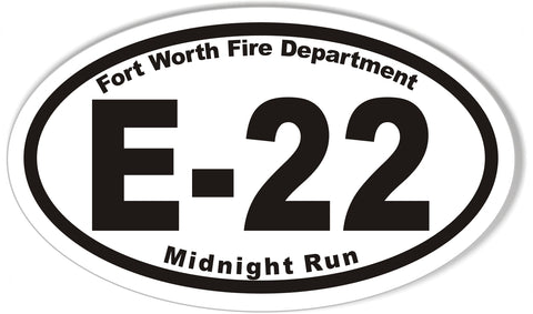 E-22 Fort Worth Fire Department Oval Bumper Stickers