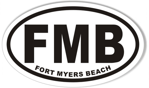 FMB FORT MYERS BEACH Custom Oval Bumper Stickers