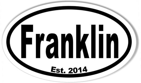 FRANKLIN 3x5 Inch Custom Oval Bumper Stickers
