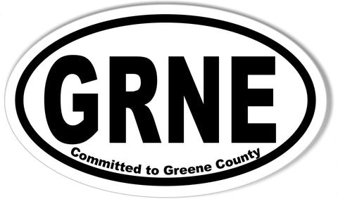GRNE Committed to Greene County Oval Bumper Stickers