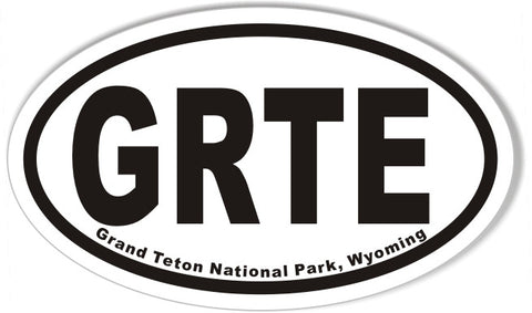 GRTE Grand Teton National Park, Wyoming Oval Sticker