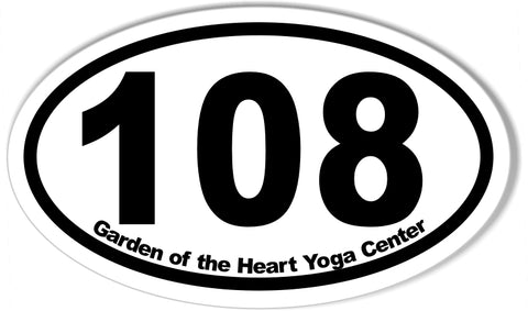 108 Garden of the Heart Yoga Center Oval Bumper Stickers