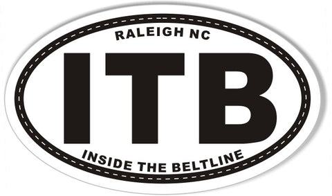 ITB INSIDE THE BELTLINE Oval Bumper Stickers