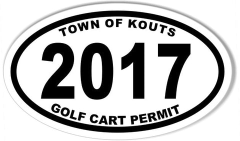 TOWN OF KOUTS GOLF CART PERMIT Oval Bumper Stickers