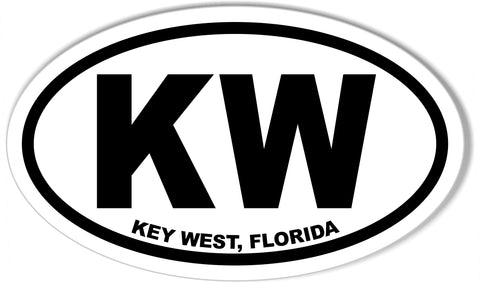 KW Key West, Florida Euro Oval Sticker