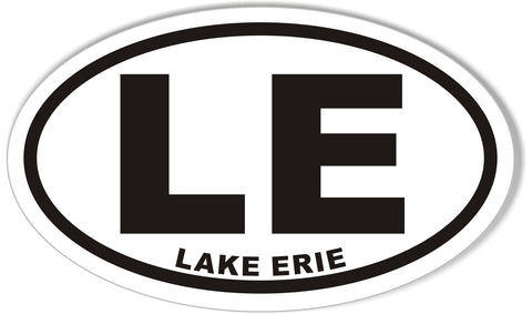 LE LAKE ERIE Oval Bumper Stickers