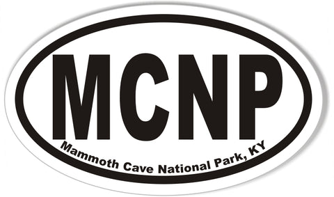 MCNP Mammoth Cave National Park, KY Oval Bumper Sticker