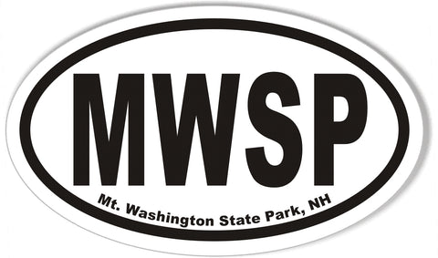 MWSP Mt. Washington State Park, NH Oval Bumper Stickers