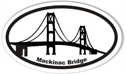 Mackinac Bridge Oval Bumper Sticker