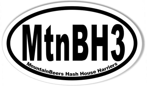 MtnBH3 3x5 Inch Custom Oval Bumper Stickers
