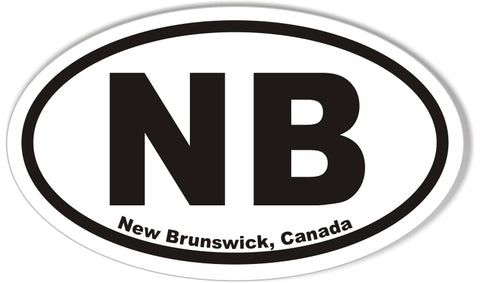 NB New Brunswick, Canada Oval Bumper Sticker