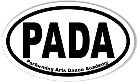 PADA Performing Arts Dance Academy  Custom Oval Bumper Stickers