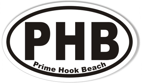 PHB Prime Hook Beach Oval Bumper Stickers