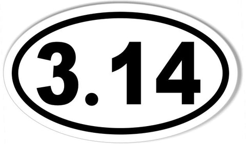 3.14 Pi Day Oval Bumper Sticker
