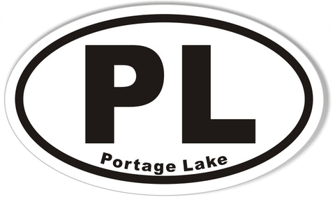 PL Portage Lake Oval Bumper Stickers