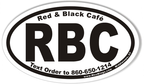RBC Red & Black Cafe Oval Bumper Stickers