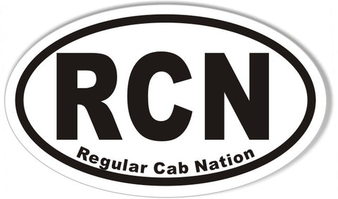 RCN Regular Cab Nation Oval Bumper Stickers