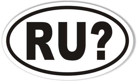 RU? Oval Bumper Stickers