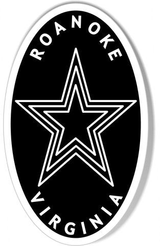 The Roanoke Star Oval Bumper Sticker