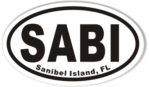 SABI Sanibel Island, FL Oval Bumper Sticker