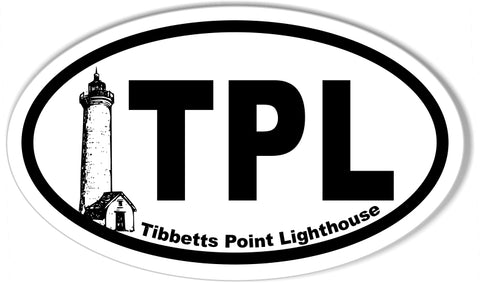 TPL Tibbetts Point Lighthouse Euro Oval Stickers